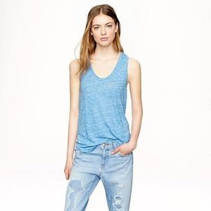 J. Crew 100% Linen Tank Top Blue Relaxed Fit
